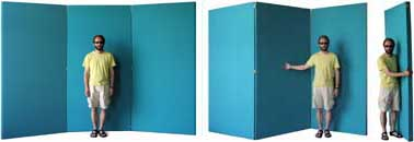 Three Panel Folding Room Divider Screen Folds Flat