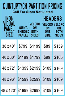 Quintuptych, 5 Panel Room Divider Screens Pricing