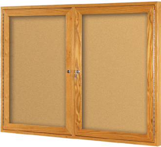 Oak Enlclosed Bulletin Board