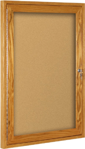Oak Enclosed Bulletin Board with single door