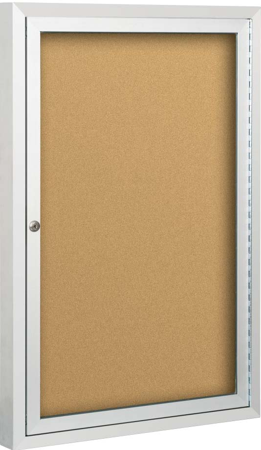 Single Door, Enclosed Anodized Aluminun, Bulletin Board Cabinet