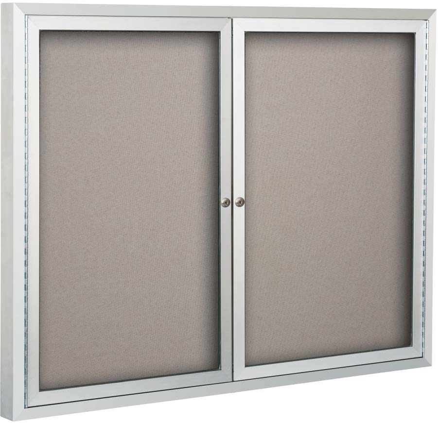 2 Door Enclosed, Anodized Aluminun, Bulletin Board Cabinet