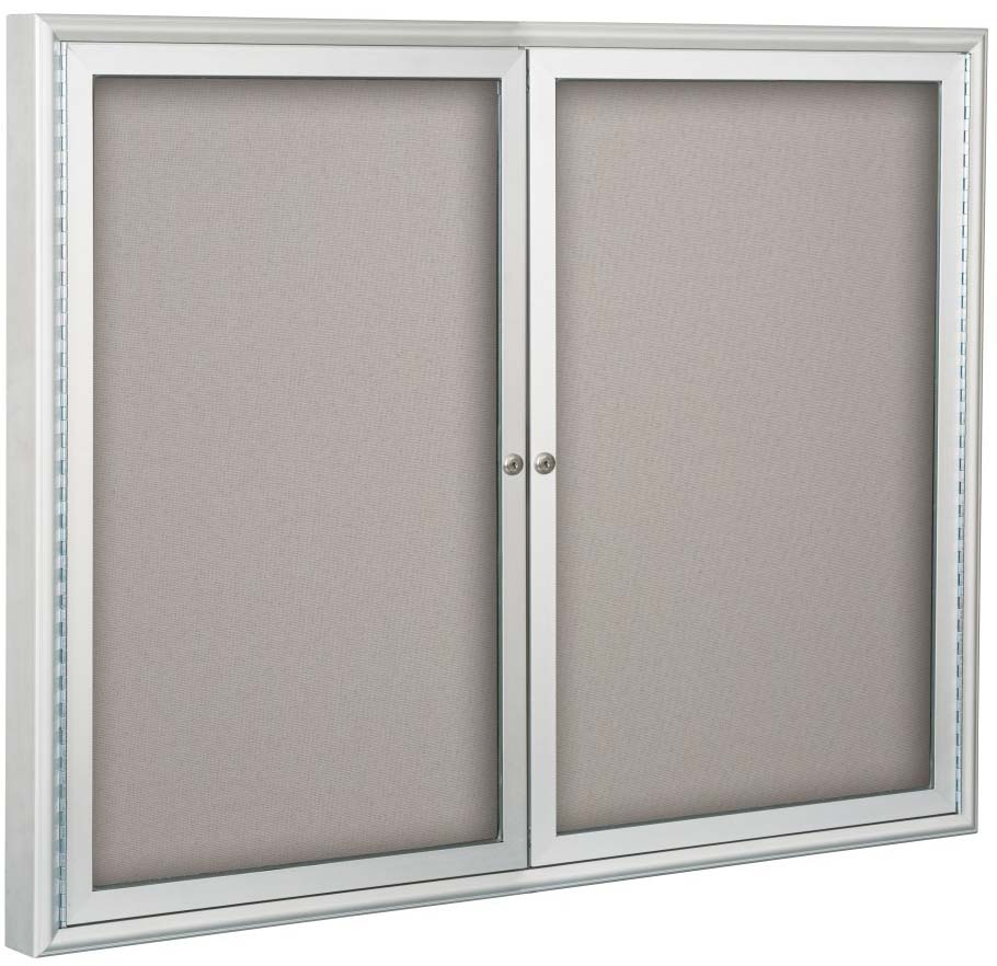 Two Doors Enclosed, Anodized Aluminun Silver, Bulletin Board Cabinet