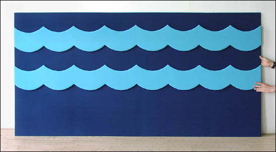 Velcro bulletin board wall panel with waves